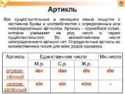 Артикль Все существительные в немецком языке пишутся с