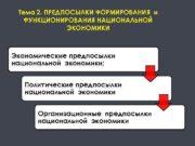 Тема 2 ПРЕДПОСЫЛКИ ФОРМИРОВАНИЯ и ФУНКЦИОНИРОВАНИЯ НАЦИОНАЛЬНОЙ ЭКОНОМИКИ