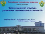 Российская таможенная академия Кафедра управления Организационная структура управления
