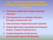 Тема 7 ТЕОРИИ МИРОВОЙ ЭКОНОМИКИ ОСНОВНЫЕ КОНЦЕПЦИИ МЕЖДУНАРОДНОЙ