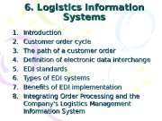 6. Logistics Information Systems 1. 1. Introduction