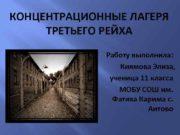 КОНЦЕНТРАЦИОННЫЕ ЛАГЕРЯ ТРЕТЬЕГО РЕЙХА Работу выполнила Киямова Элиза