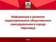 Информация о развитии территориального общественного самоуправления в городе
