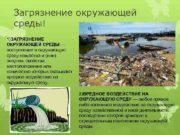 Загрязнение окружающей среды 1 ЗАГРЯЗНЕНИЕ ОКРУЖАЮЩЕЙ СРЕДЫ поступление