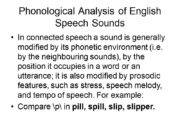 Phonological Analysis of English Speech Sounds In connected