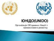 ЮНІДО UNIDO Організація Об єднаних Націй з промислового розвитку