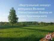 Виртуальный концерт ветеранам Великой Отечественной Войны от