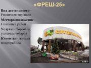 ФРЕШ-25 Вид деятельности Розничная торговля Месторасположение