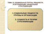 ТЕМА 12 СОЦИАЛЬНЫЕ ГРУППЫ ОБЩНОСТИ И ОРГАНИЗАЦИИ СОЦИАЛЬНАЯ