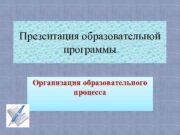 Презентация образовательной программы Организация образовательного процесса Сережкина