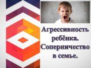 Агрессивность ребёнка Соперничество в семье Детская агрессия