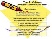 Тема 2 Субъекты предпринимательского права План занятия 1