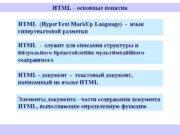 HTML основные понятия HTML Hyper Text Mark