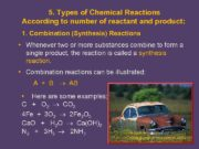 5 Types of Chemical Reactions According to number