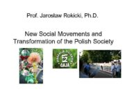 Prof Jarosław Rokicki Ph D New Social Movements