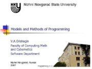 Nizhni Novgorod State University Models and Methods of