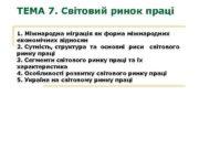 ТЕМА 7 Світовий ринок праці 1 Міжнародна міграція
