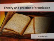 Theory and practice of translation By Dmytro Tsolin