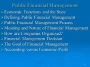 1 Public Financial Management Economic Functions and the