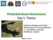 Protected Areas Governance Day 1 Theory Aleksandr Nikolayevich
