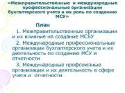 Межправительственные и международные профессиональные организации бухгалтерского учета