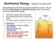 Geothermal Energy energy from the Earth Deep