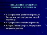 УПРАВЛІННЯ ПРОЦЕСОМ РОЗВИТКУ ПЕРСОНАЛУ 1 Професійний розвиток
