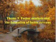 Theme 9 Factor markets and the formation of