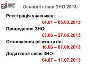 Основні етапи ЗНО 2013: Реєстрація учасників: 04.01 –