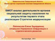 Правительство Свердловской области Министерство социальной политики Свердловской области