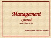 Management Control Sunday February 11 2018 Submitted by