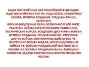 ВИДЫ ВООРУЖЁННЫХ СИЛ РОССИЙСКОЙ ФЕДЕРАЦИИ РОДА ВООРУЖЁННЫХ СИЛ