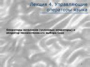 Лекция 4 Управляющие операторы языка Операторы ветвления условные