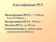 Классификация РРЛ Магистральные РРЛ L 2500 км более