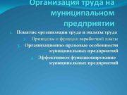 Организация труда на муниципальном предприятии 1 Понятие организации