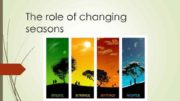 The role of changing seasons Seasons