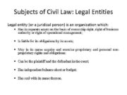 Subjects of Civil Law Legal Entities Legal entity