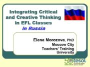 Integrating Critical and Creative Thinking in EFL Classes