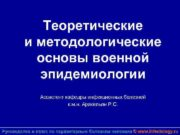 Теоретические и методологические основы военной эпидемиологии Ассистент кафедры
