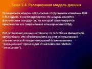 Тема 1 4 Реляционная модель данных Реляционная модель