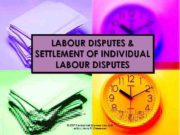 LABOUR DISPUTES SETTLEMENT OF INDIVIDUAL LABOUR DISPUTES