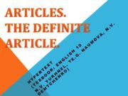 ARTICLES THE DEFINITE ARTICLE 1 0 H N