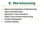 8. Warehousing 1. Nature and Importance of Warehousing