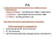 РА 1 Для серологической диагностики инфекционных заболеваний —
