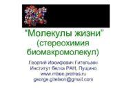 Молекулы жизни стереохимия биомакромолекул Георгий Иосифович Гительзон