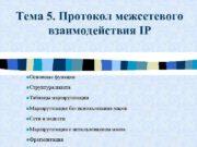 Тема 5 Протокол межсетевого взаимодействия IP n Основные
