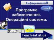 Інформатика 9 Урок 7 Програмне забезпечення Операційні системи