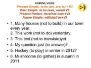 PASSIVE VOICE Present Simple to be am are