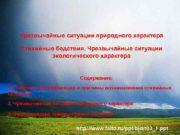 Чрезвычайные ситуации природного характера Стихийные бедствия Чрезвычайные ситуации