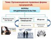 Тема Организационно-правовые формы предприятий ФОРМЫ ПРЕДПРИНИМАТЕЛЬСТВА Индивидуальное или